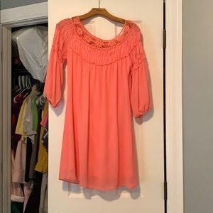 Pink long-sleeved shift dress